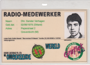 Volunteer identification card: Radio-Medewerker (Radio Volunteer)