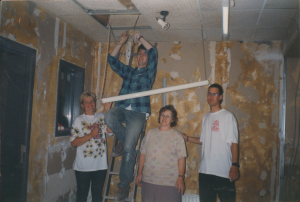 Demolition team in action; Jacqueline, Sander Loven, Greetje Stevens, «name unknown»