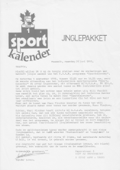 Letter showing the Sportkalender logo and discussing the new set of jingles for the radio show