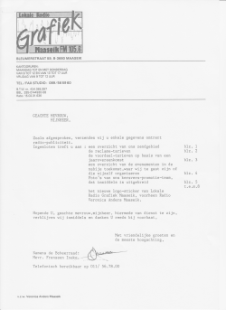 Introduction letter for an information package for the sales of airtime for commercials