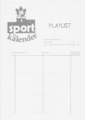 Form for Sportkalender playlist, front side